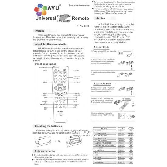 Универсальный пульт ДУ для спутниковых тюнеров HUAYU RM-3335+